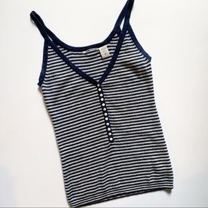 Lucky Brand• navy striped cotton cashmere tank top